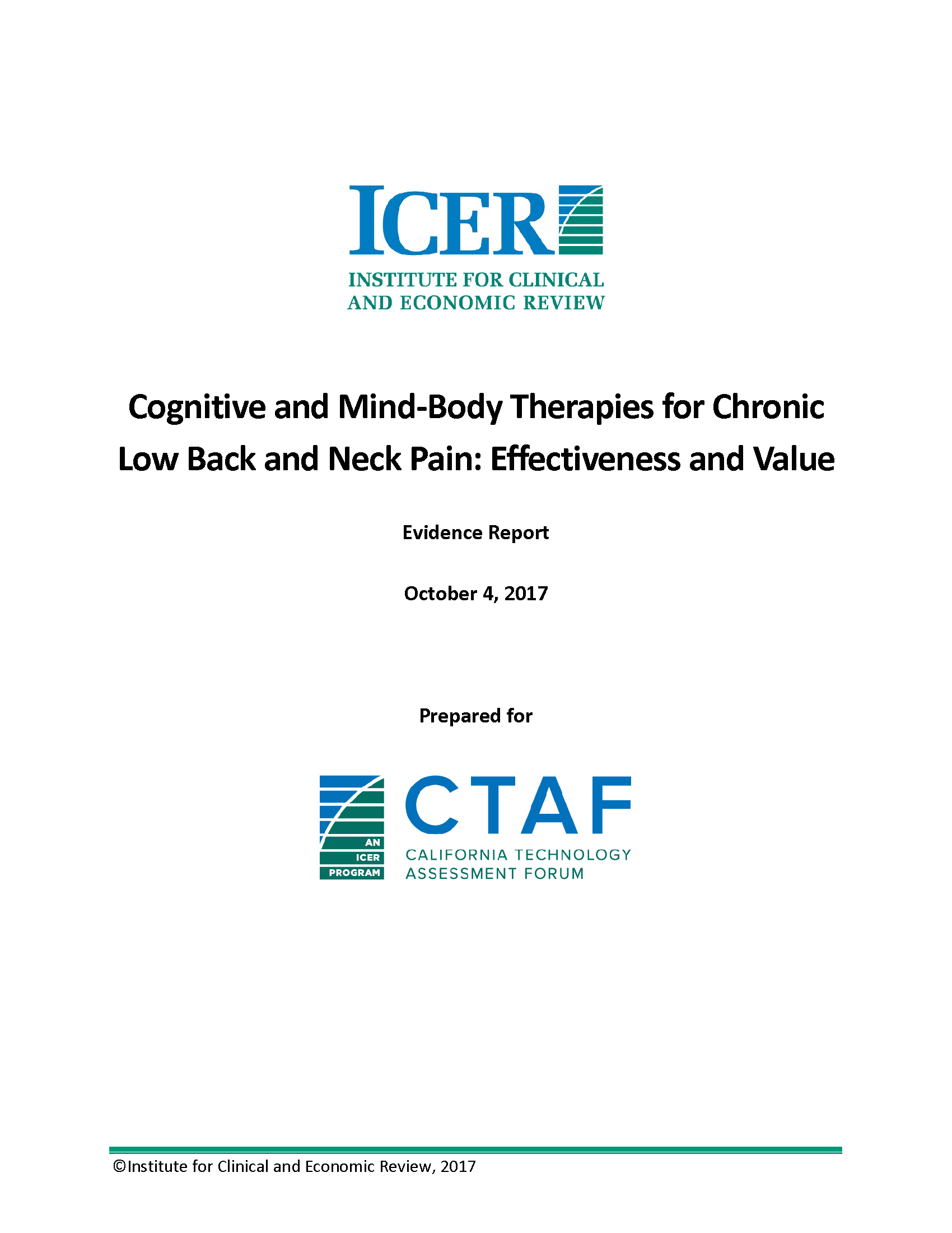 Cognitive and Mind-Body Therapies for Chronic Low Back and Neck Pain: Effectiveness and Value