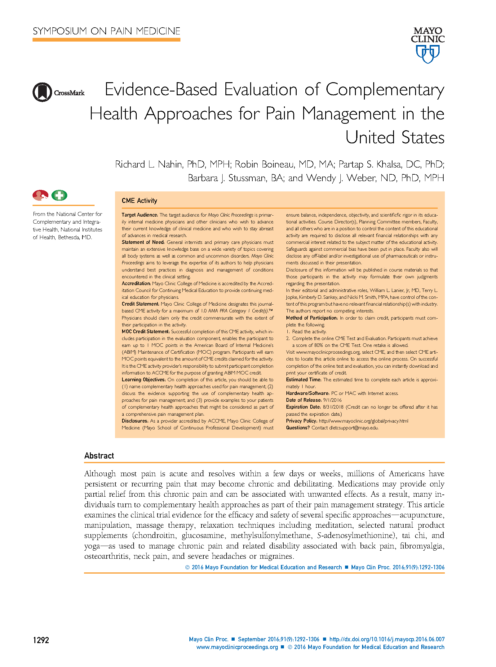 Evidence-Based Evaluation of Complementary Health Approaches for Pain Management in the United States (2016)