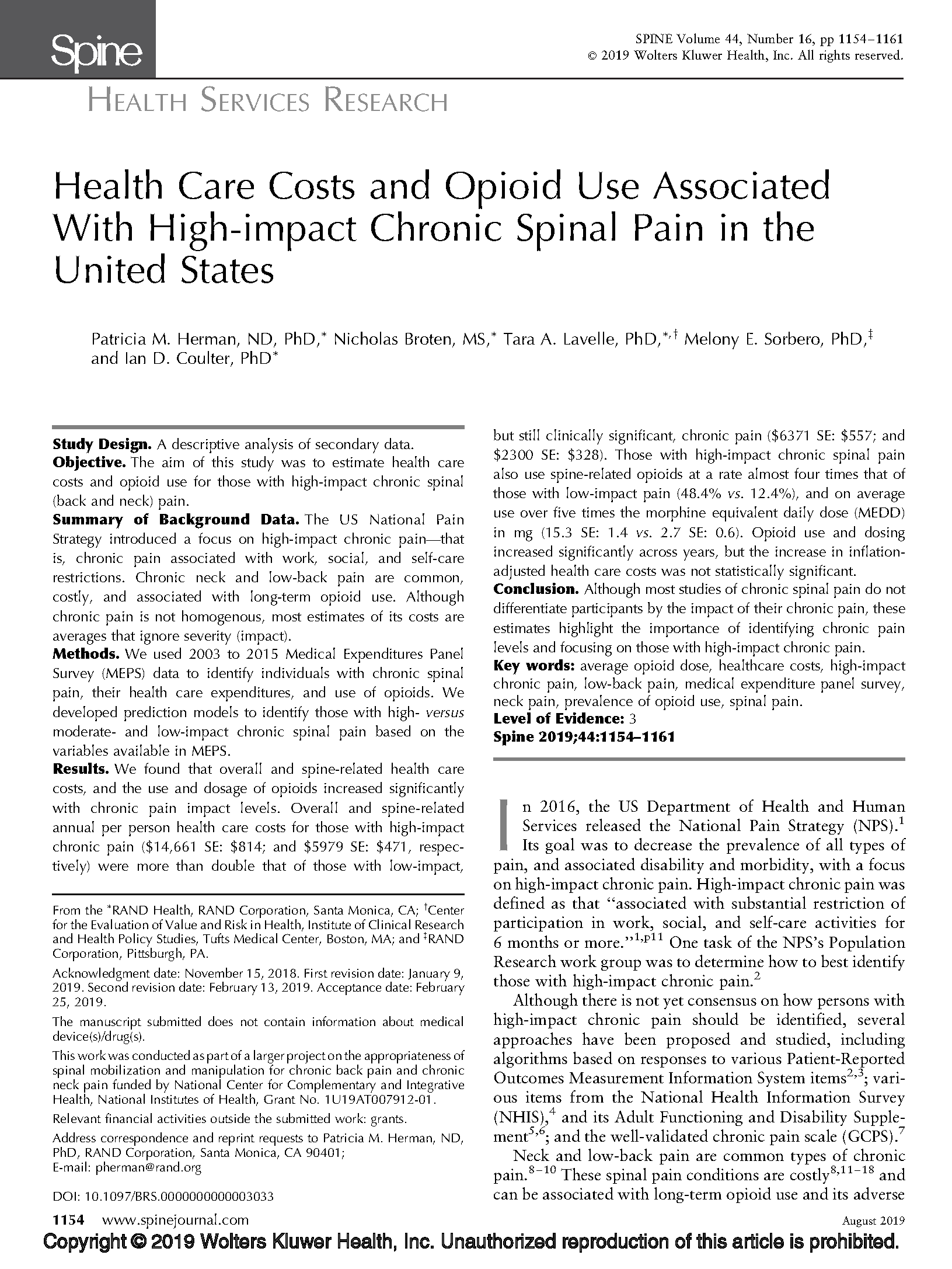Health Care Costs and Opioid Use Associated With High-impact Chronic Spinal Pain in the US