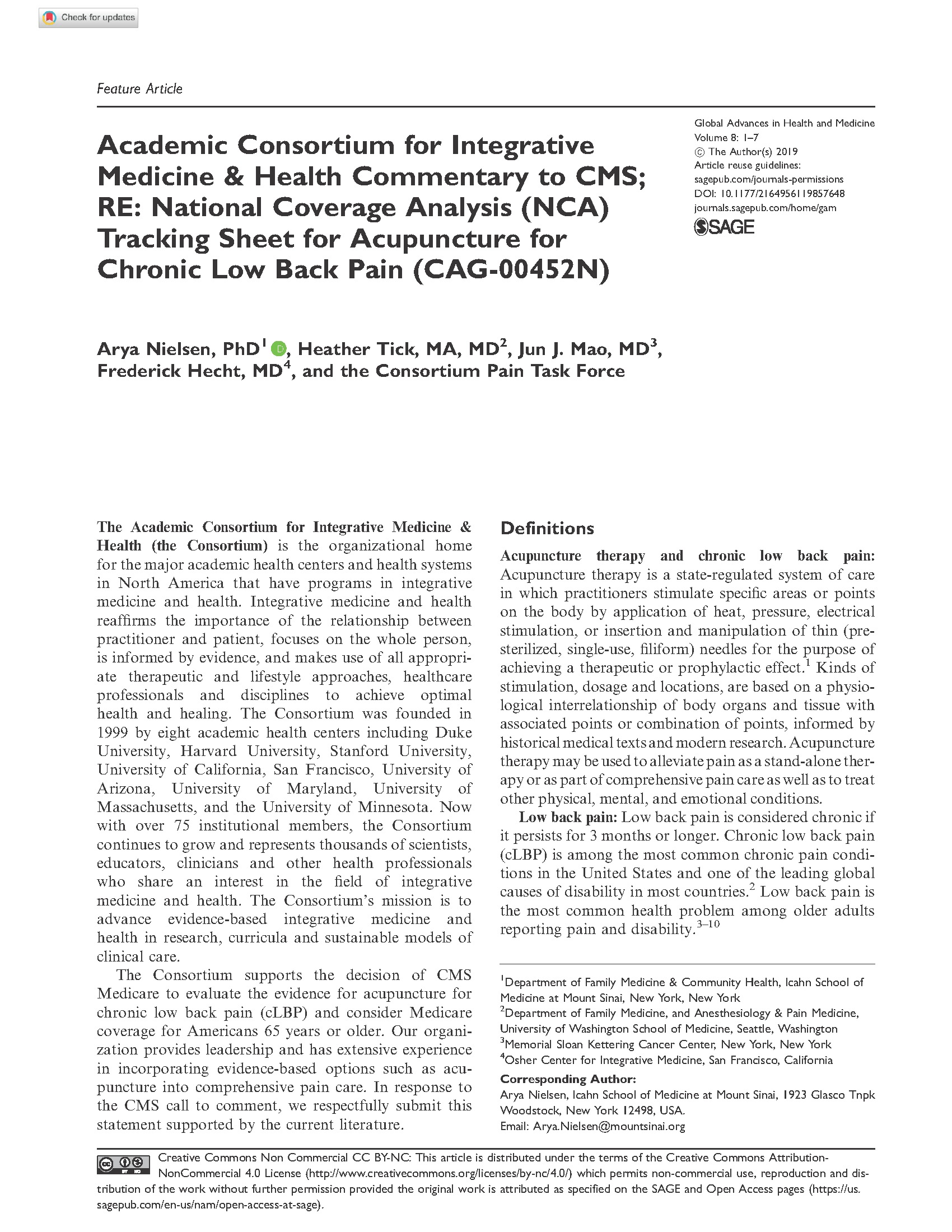 ACIMH Commentary to CMS; RE: NCA Tracking Sheet for Acupuncture for Chronic Low Back Pain